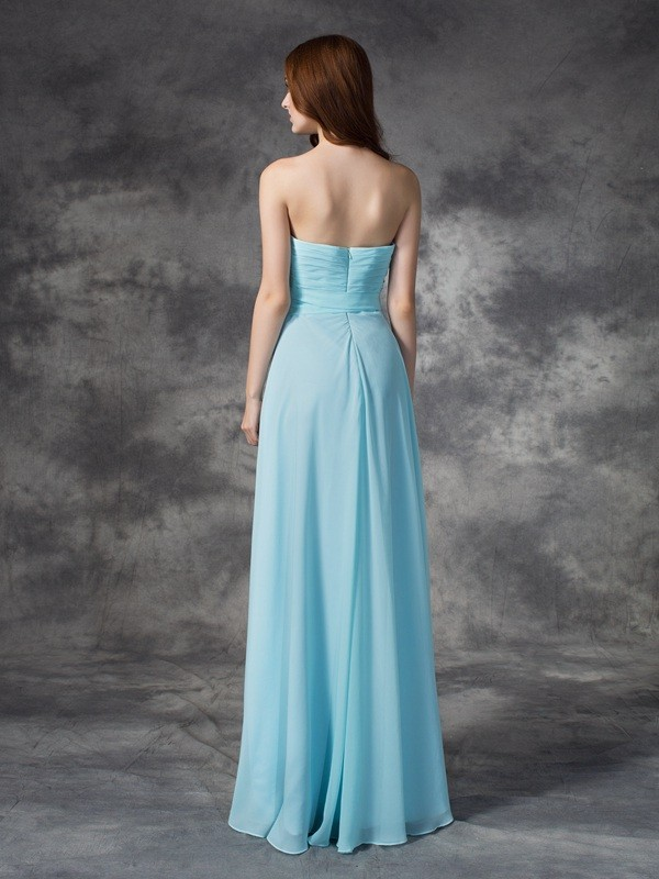 Nice A-Line Strapless Sleeveless Long Chiffon Bridesmaid Dress