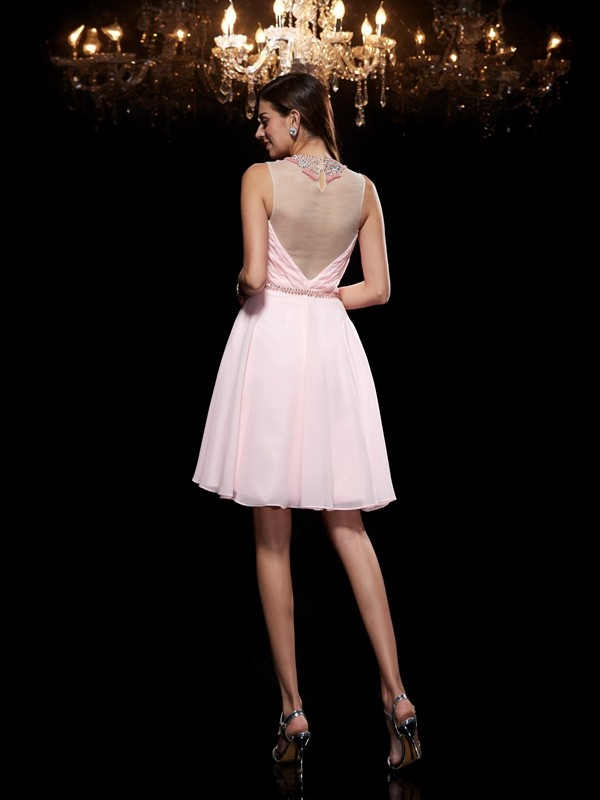 Amazing A-Line Scoop Sleeveless Short Chiffon Dress