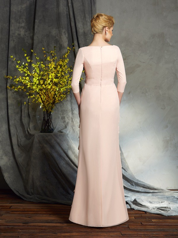Amazing Sheath V-neck 3/4 Sleeves Long Chiffon Mother of the Bride Dress