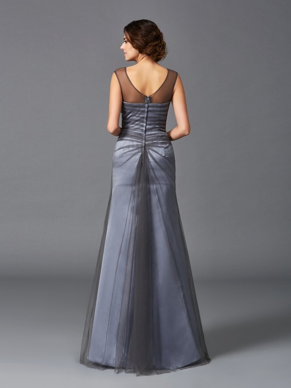 Amazing Sheath Scoop Sleeveless Long Net Mother of the Bride Dress