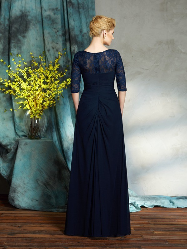 Amazing A-Line Bateau 1/2 Sleeves Long Chiffon Mother of the Bride Dress
