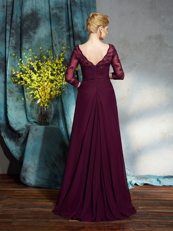 Amazing A-Line V-neck 3/4 Sleeves Long Chiffon Mother of the Bride Dress