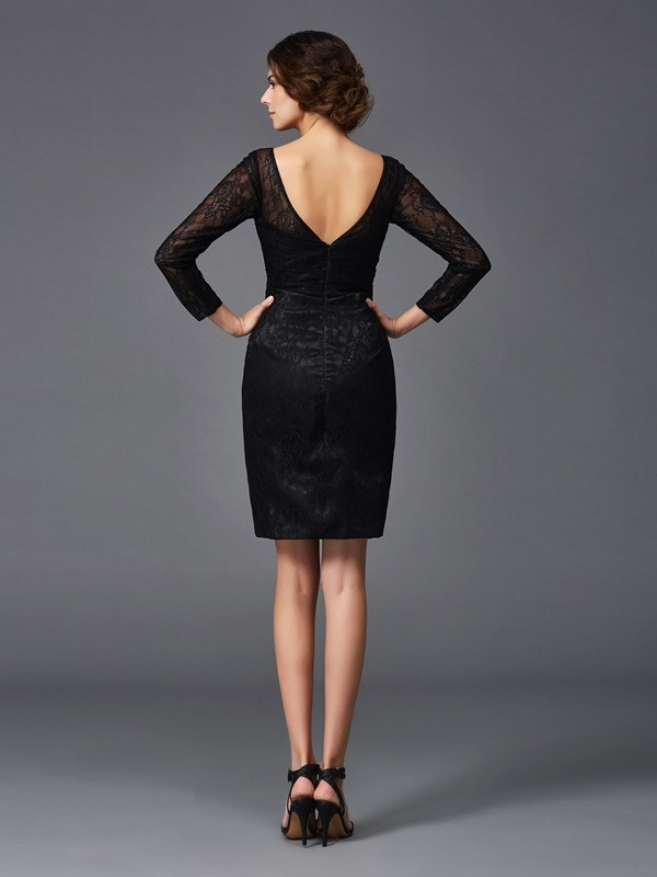 Amazing Sheath V-neck Lace Long Sleeves Short Elastic Woven Satin Mother of the Bride Dress