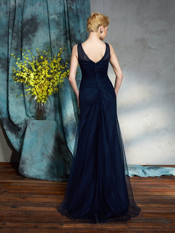 Amazing Sheath Bateau Sleeveless Long Net Mother of the Bride Dress