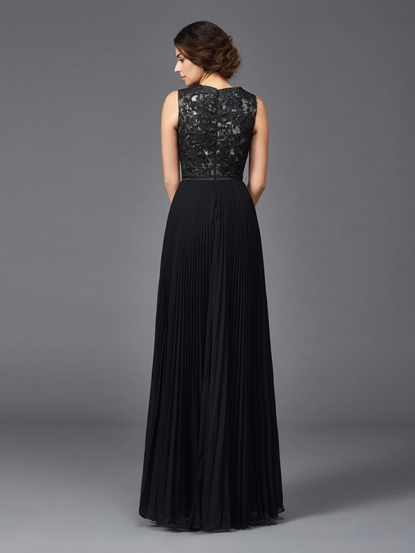 Glamorous A-Line V-neck Lace Sleeveless Long Chiffon Mother of the Bride Dress