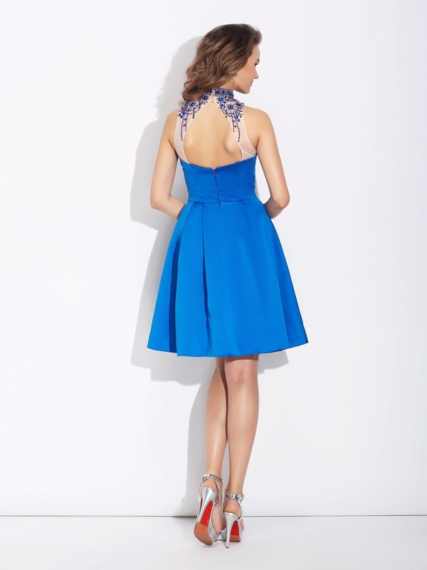 Glamorous A-Line High Neck Sleeveless Short Satin Dress