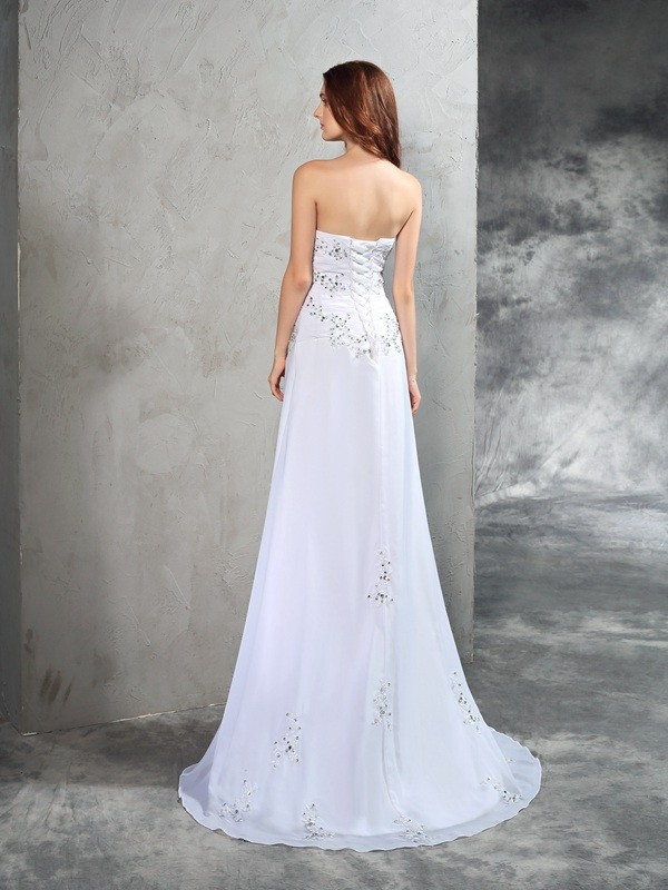 Glamorous Sheath Strapless Sleeveless Long Chiffon Wedding Dress