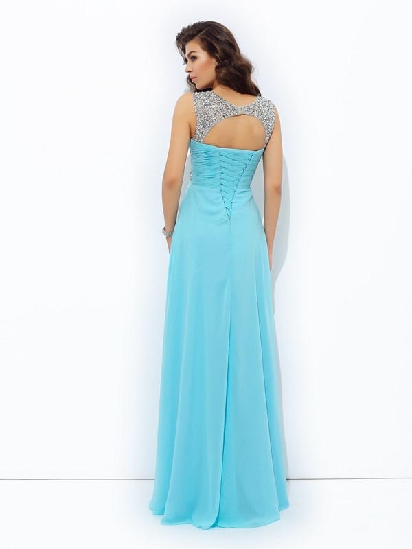 Glamorous A-Line Straps Sequin Sleeveless Long Chiffon Dress