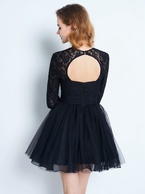 Beautiful A-Line High Neck Long Sleeves Lace Short/Mini Net Dress