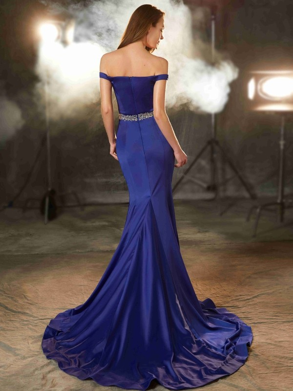 Cheap Mermaid Off-the-Shoulder Sleeveless Sweep/Brush Train Satin Dress