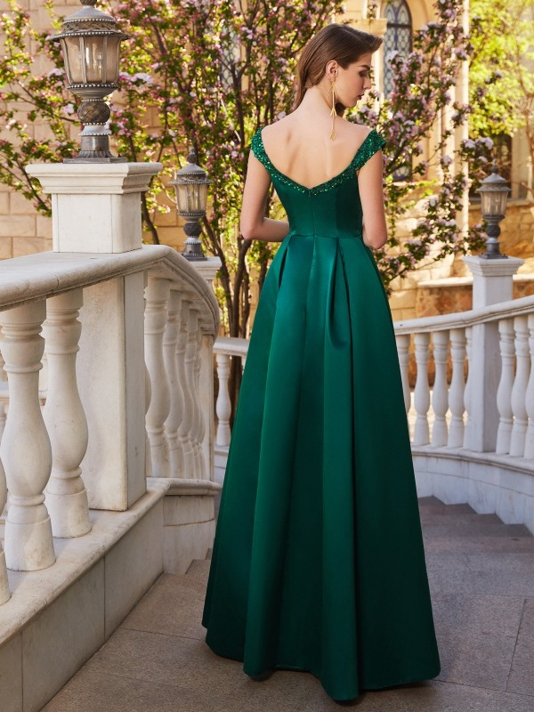 Affordable A-Line Off-the-Shoulder Sequin Sleeveless Satin Floor-Length Dress