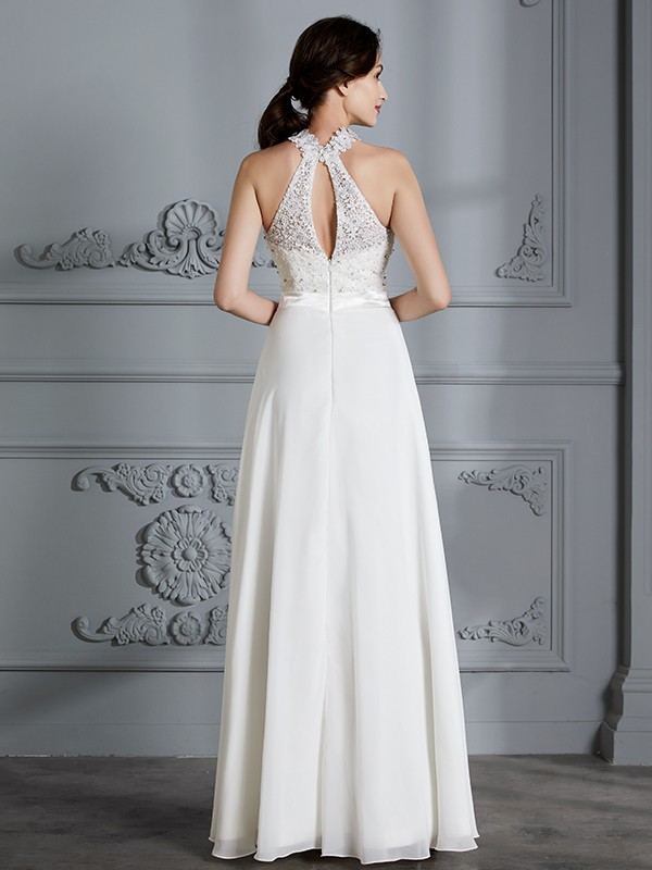 Fancy A-Line Scoop Sleeveless Floor-Length Chiffon Wedding Dress