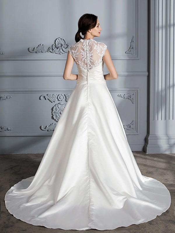 Fancy Ball Gown V-neck Sleeveless Court Train Satin Wedding Dress