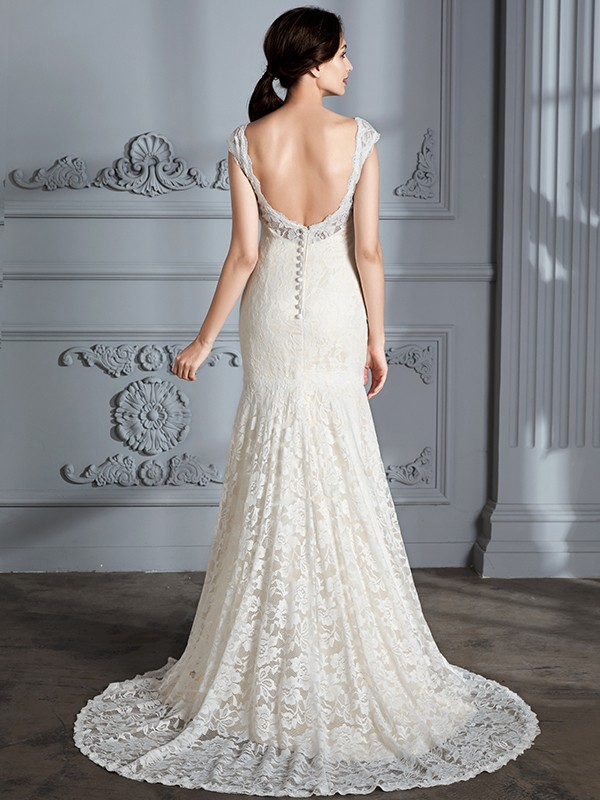 Fancy Mermaid Sleeveless V-Neck Lace Sweep/Brush Train Wedding Dress