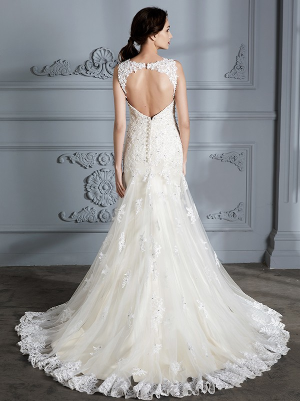 Fancy Mermaid Sweetheart Sleeveless Lace Court Train Wedding Dress