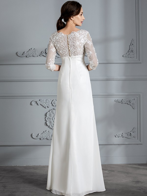 Fancy Sheath V-neck 3/4 Sleeves Chiffon Floor-Length Wedding Dress