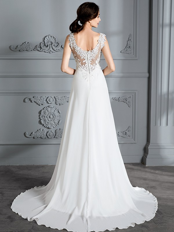 Fancy A-Line Sleeveless V-neck Sweep/Brush Train Chiffon Wedding Dress