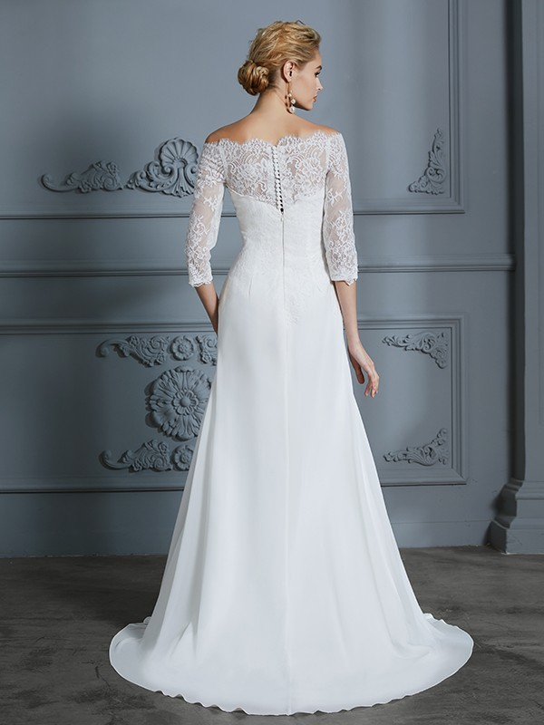 Unique Mermaid 1/2 Sleeves Off-the-Shoulder Sweep/Brush Train Chiffon Wedding Dress