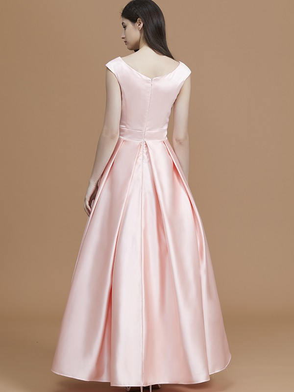 New A-Line Bateau Sleeveless Asymmetrical Satin Bridesmaid Dress