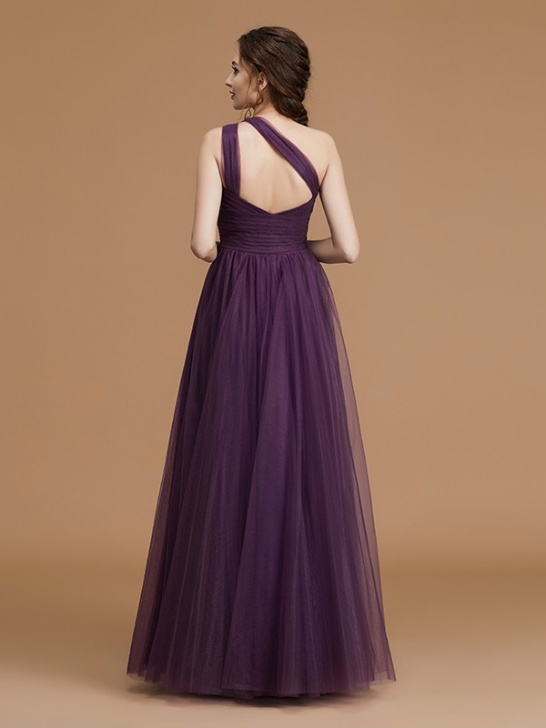 Glamorous A-Line One-Shoulder Sleeveless Floor-Length Tulle Bridesmaid Dress