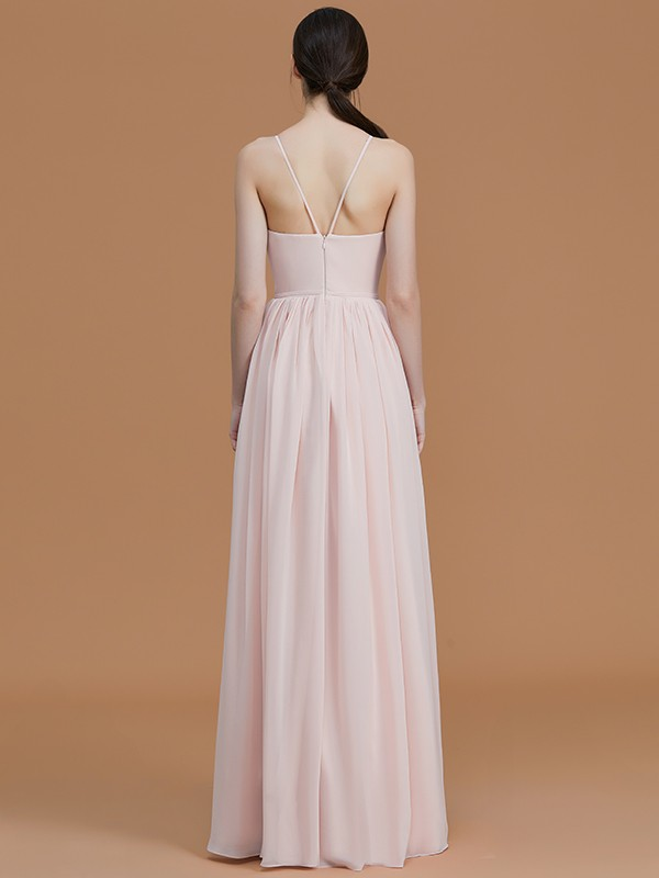 Nice A-Line Spaghetti Straps Sleeveless Floor-Length Chiffon Bridesmaid Dress