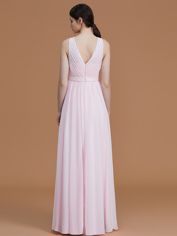 Gorgeous A-Line Jewel Sleeveless Floor-Length Chiffon Bridesmaid Dress