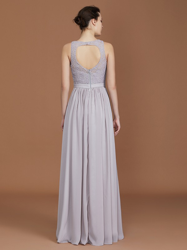 Perfect A-Line Scoop Floor-Length Ruched Chiffon Bridesmaid Dress