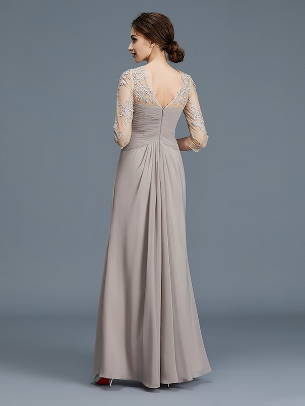 Unique A-Line Sheer Neck 3/4 Sleeves Chiffon Floor-Length Mother of the Bride Dress