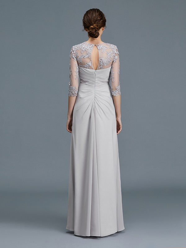 Unique A-Line Scoop 3/4 Sleeves Chiffon Floor-Length Mother of the Bride Dress