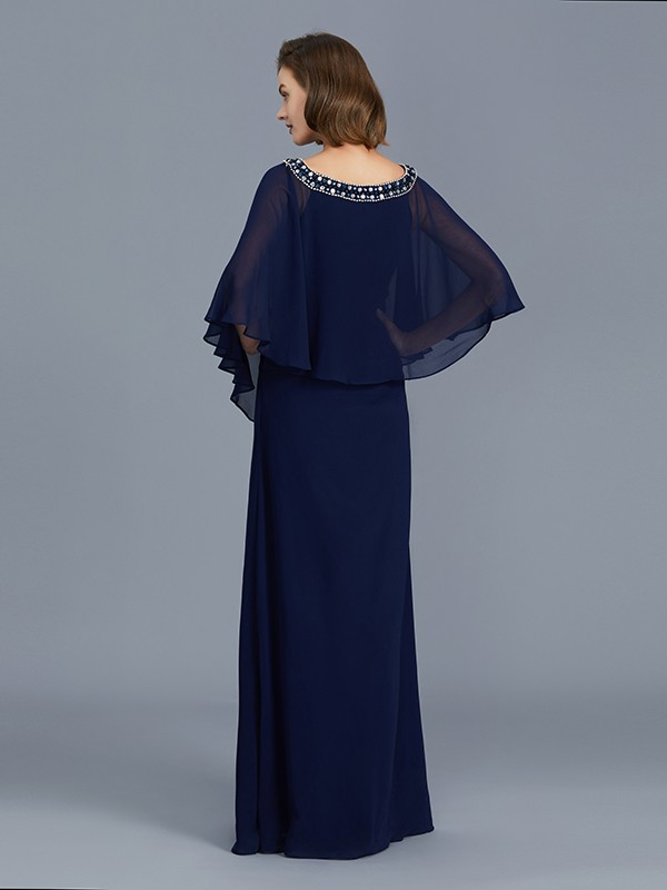 Affordable Sheath Scoop Long Sleeves Chiffon Floor-Length Mother of the Bride Dress
