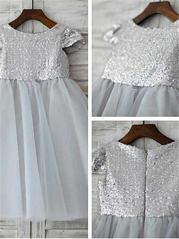 Beautiful A-line Scoop Short Sleeves Tea-length Tulle Flower Girl Dress