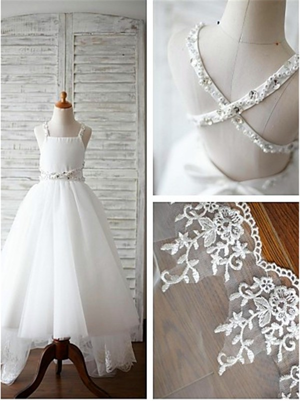 Elegant A-line Spaghetti Straps Sleeveless Sweep/Brush Train Tulle Flower Girl Dress