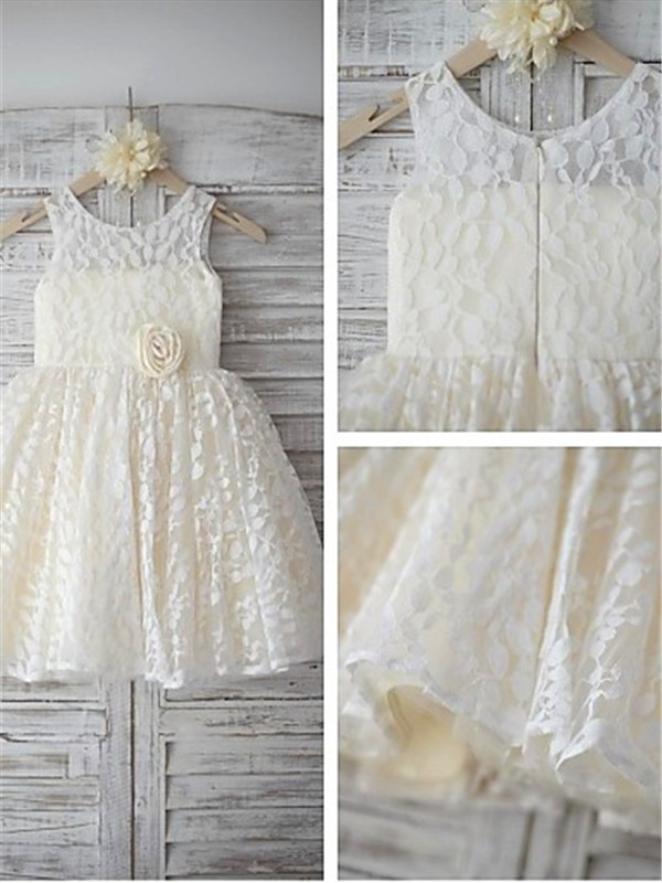 New A-line Sleeveless Scoop Tea-length Lace Flower Girl Dress