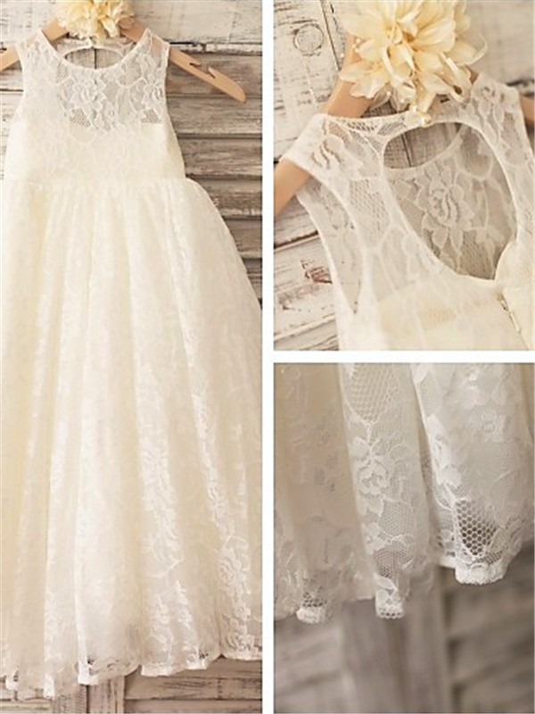 Perfect A-line Scoop Sleeveless Ankle-length Lace Flower Girl Dress