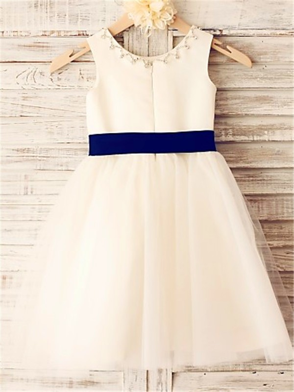 Discount Princess Scoop Sleeveless Tea-Length Tulle Flower Girl Dress
