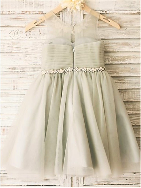 Stylish A-line Scoop Sleeveless Tea-Length Tulle Flower Girl Dress