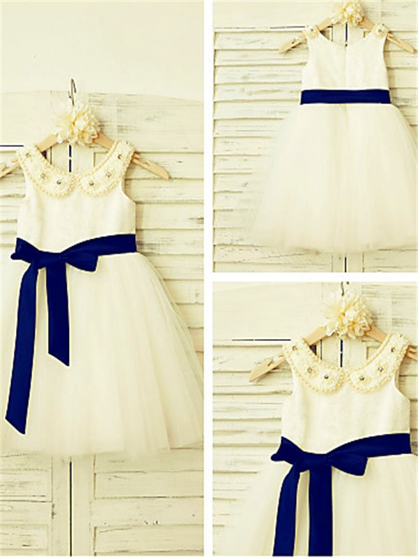 Fashion A-line Scoop Sleeveless Tea-Length Tulle Flower Girl Dress
