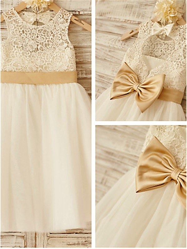 Elegant A-line Sleeveless Scoop Knee-Length Tulle Flower Girl Dress
