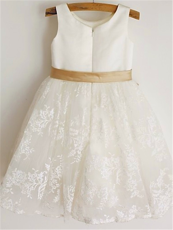 Amazing Princess Scoop Sleeveless Tea-Length Lace Flower Girl Dress