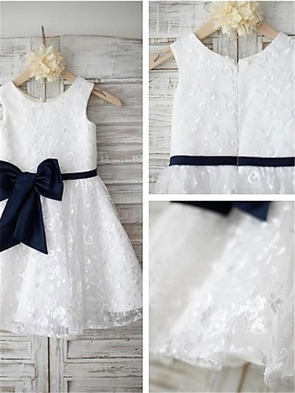 Fashion A-line Scoop Tea-length Lace Flower Girl Dress