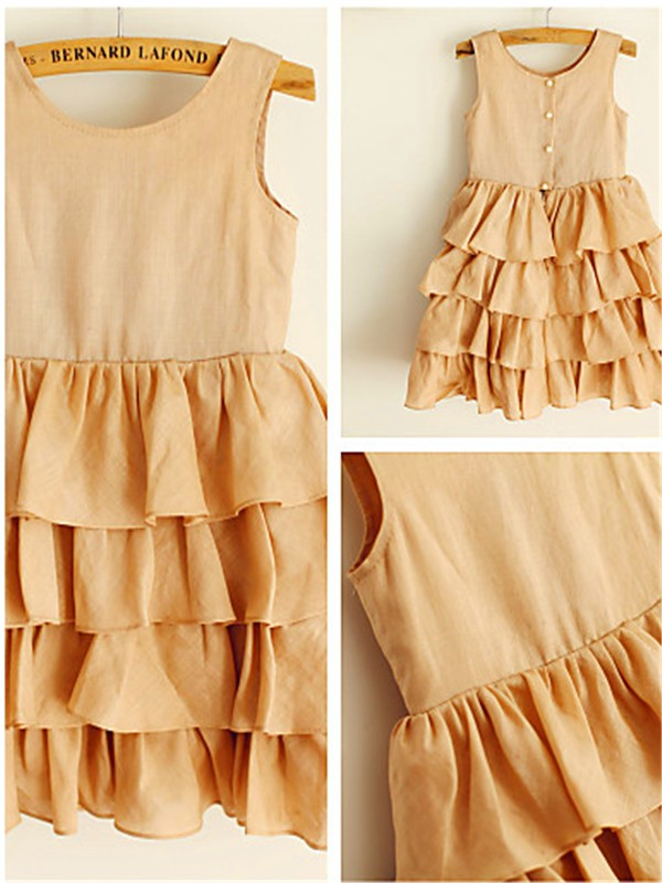 Fashion A-line Scoop Sleeveless Layers Tea-Length Chiffon Flower Girl Dress