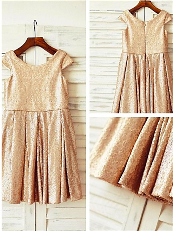 Cheap A-line Scoop Short Sleeves Tea-Length Sequins Flower Girl Dress