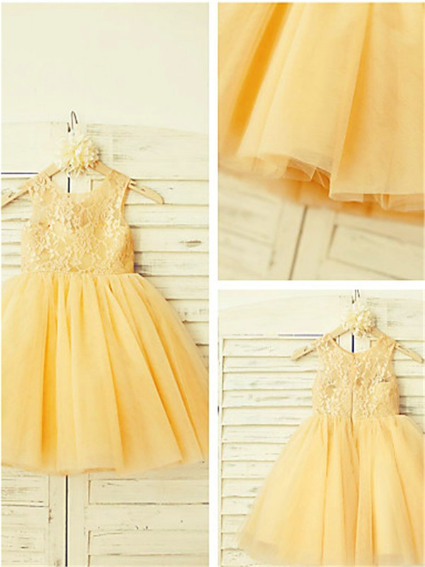 Chic A-line Scoop Sleeveless Lace Tea-length Tulle Flower Girl Dress