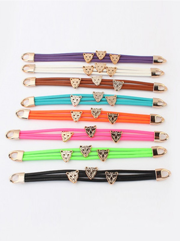 Chic Occident Candy colors Summer All-match Leopard head Bracelet
