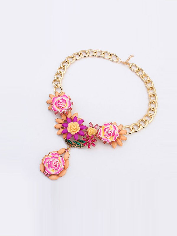 Gorgeous Occident Retro Temperament Flowers Necklace