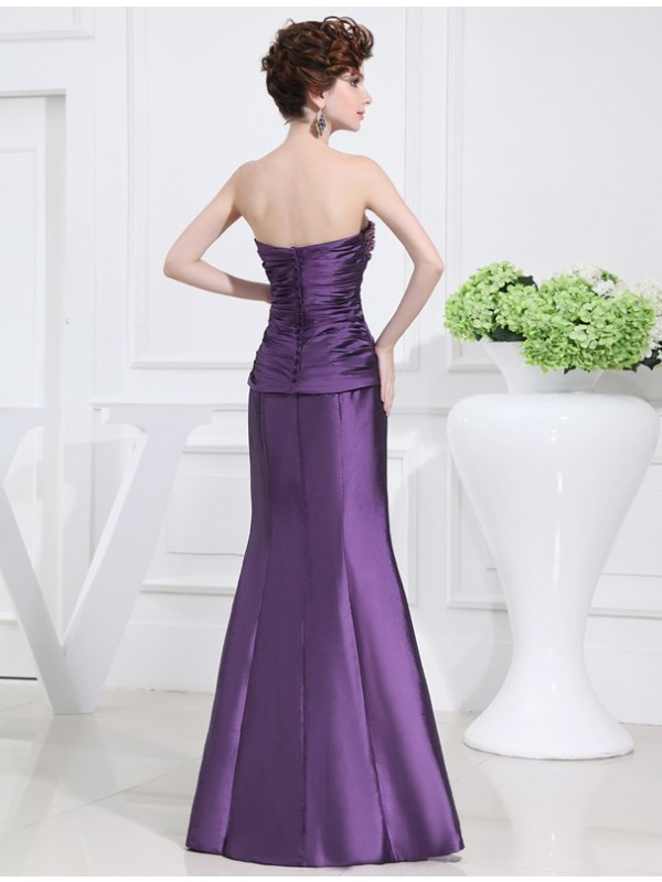 Hot Sale Mermaid Strapless Sleeveless Long Taffeta Mother of the Bride Dress