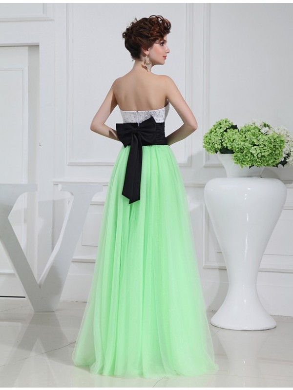 Hot Sale A-Line Sleeveless Satin Tulle Long Dress