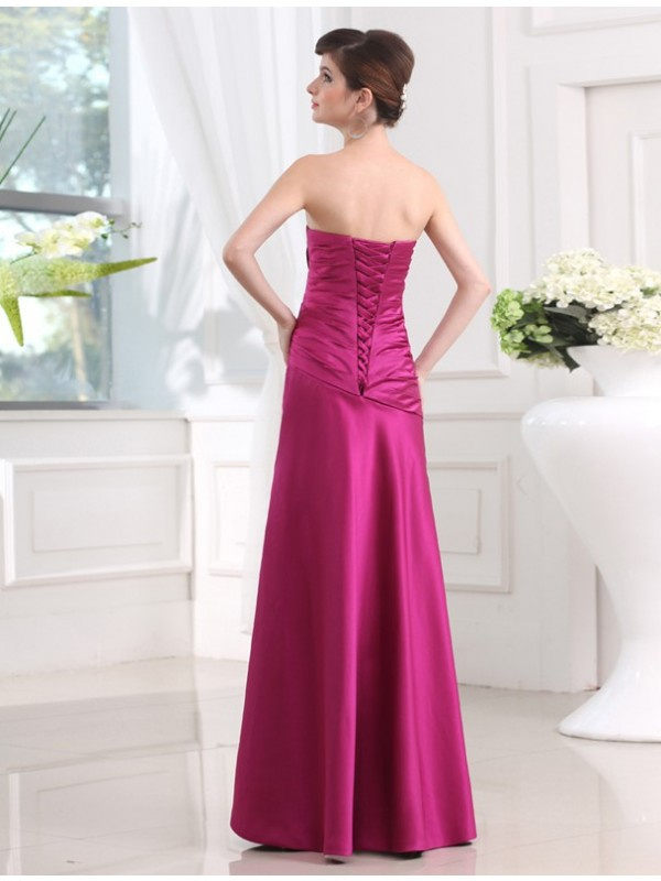 Gorgeous Sheath Strapless Sleeveless Long Satin Bridesmaid Dress
