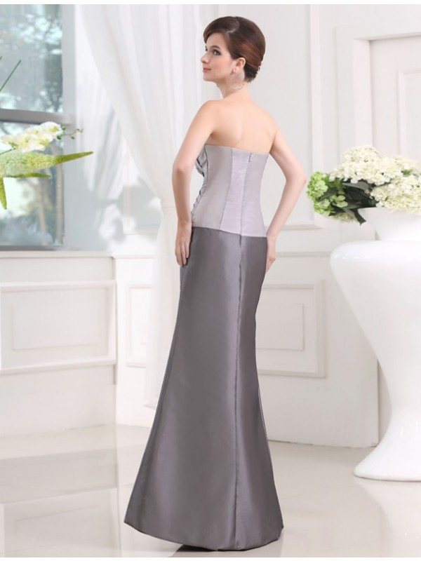 Hot Sale Strapless Sleeveless Taffeta Long Mother of the Bride Dress