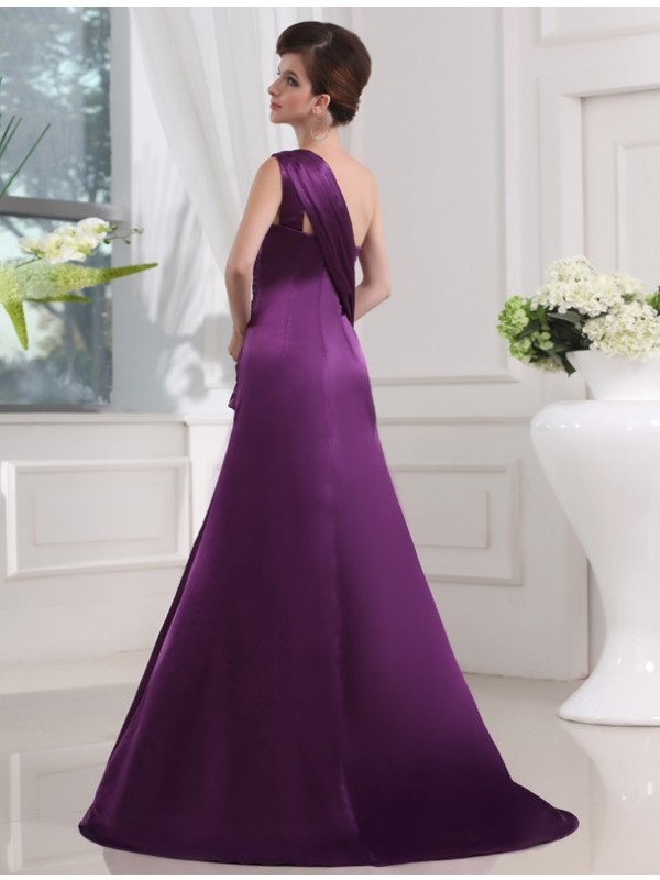 Hot Sale A-Line One-shoulder Sleeveless Elastic Woven Satin Long Dress